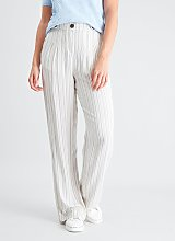 Beige Stripe Wide Leg Trousers - 8