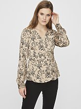 Beige Tiger Print Wrap Blouse - 14