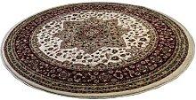 Beige Traditional Design Soft Pile Round Area Rug
