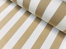 Beige & White Striped DRALON Outdoor Fabric