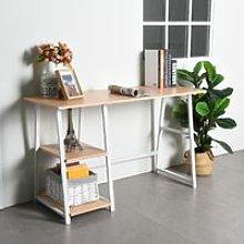 Beige wooden desk with 2 storage shelves