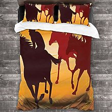 BEITUOLA Duvet Cover Set,Equestrian Animal Race