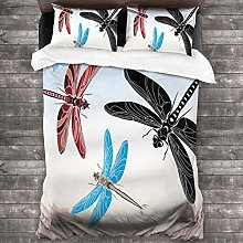 BEITUOLA Duvet Cover Set,Exotic Dragonflies Flying