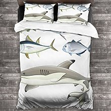 BEITUOLA Duvet Cover Set,Fish Collage Of Aquatic