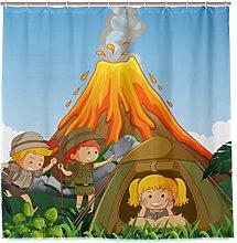 BEITUOLA Shower Curtain,Camping Kids Camp Next