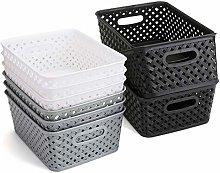 Bekith 9 Pack Woven Storage Basket Plastic