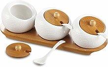 Bekith Porcelain Condiment Jar Spice Container Set