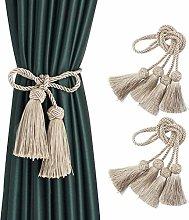 BEL AVENIR 4 Pack Curtain Handmade Tiebacks