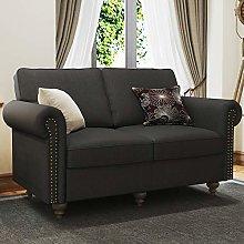 Belffin Small Sofa 2 Seater Fabric Couch Dark Grey