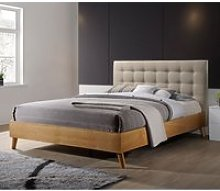 Belford King Size Bed In Beige Fabric And Natural