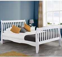 Belford White Wooden Sleigh Bed Frame - 4ft Small