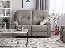 Beliani 2 Seater Fabric Recliner Sofa Taupe Beige