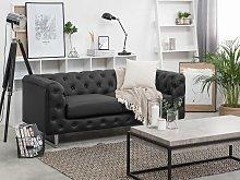 Beliani 2 Seater Faux Leather Sofa Black VISSLAND
