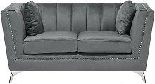 Beliani - 2 Seater Velvet Fabric Sofa Grey GAULA