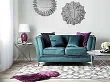 Beliani 2 Seater Velvet Fabric Sofa Teal Gaula