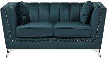 Beliani - 2 Seater Velvet Fabric Sofa Teal GAULA