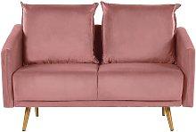 Beliani - 2 Seater Velvet Sofa Pink MAURA
