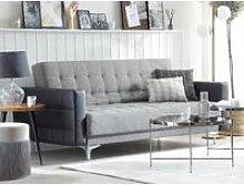 Beliani - 3 Seater Fabric Sofa Bed Grey with Black