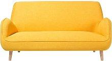 Beliani - 3 Seater Fabric Sofa Yellow KOUKI