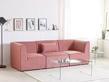 Beliani 3 Seater Modular Corduroy Sofa Pink LEMVIG