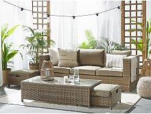Beliani - 3 Seater Rattan Garden Sofa Set Brown