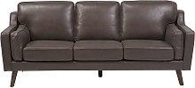 Beliani - 3 Seater Sofa Faux Leather Brown LOKKA