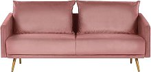 Beliani - 3 Seater Velvet Sofa Pink MAURA