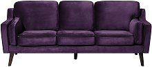 Beliani - 3 Seater Velvet Sofa Purple LOKKA