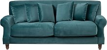 Beliani - 3 Seater Velvet Sofa Teal EIKE
