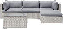 Beliani - 4 Seater Rattan Garden Corner Sofa Set
