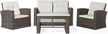 Beliani - 4 Seater Rattan Garden Sofa Set Brown