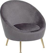 Beliani - Accent Tub Chair Grey Glam Velvet Fabric