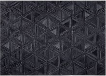 Beliani - Area Rug Black Modern Leather Geometric