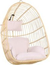 Beliani - Boho Beige Rattan Hanging Chair without