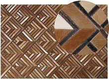 Beliani - Cowhide Leather Area Rug Brown Patchwork