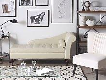 Beliani Fabric Chaise Lounge with Storage Light