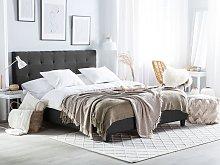 Beliani Fabric Double Bed Dark Grey LA ROCHELLE