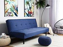 Beliani Fabric Sofa Bed Blue Visby