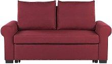 Beliani - Fabric Sofa Bed Burgundy Red Polyester