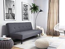 Beliani Fabric Sofa Bed Dark Grey Visby