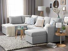 Beliani Fabric Sofa Bed Light Grey KARRABO