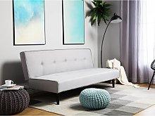 Beliani Fabric Sofa Bed Light Grey VISBY