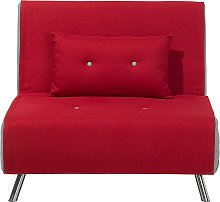 Beliani - Fabric Sofa Bed Red FARRIS