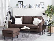 Beliani Fabric Sofa with Ottoman Brown AVESTA