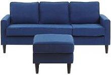 Beliani - Fabric Sofa with Ottoman Navy Blue AVESTA