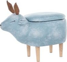 Beliani - Fabric Storage Animal Stool Light Blue
