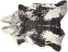 Beliani - Faux Cowhide Area Rug Black Decor Faux