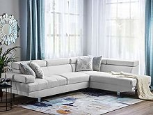 Beliani Faux Leather Corner Sofa White Adjustable
