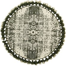 Beliani - Handwoven Cotton White Green Rug Vintage