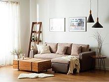 Beliani Left Hand Corner Fabric Sofa Bed Beige
